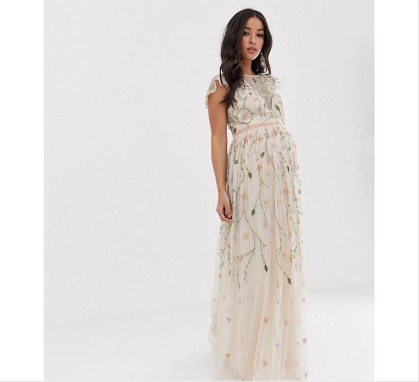 Sequin maternity wedding dress