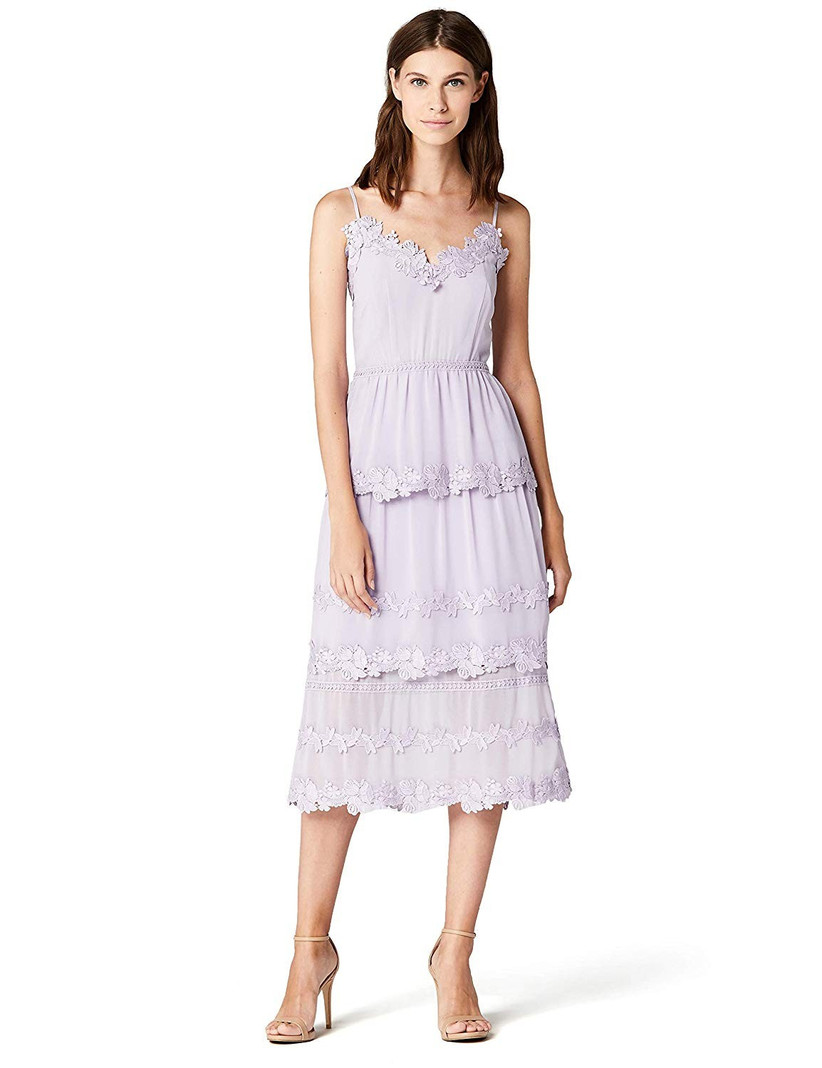 TRUTH & FABLE Women's Midi Chiffon Dress With Floral Embroidery