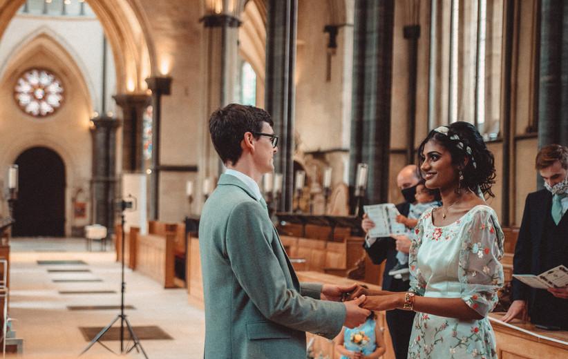 Nirosha and Dafydd exchanging vows