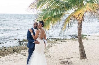A Pink-Themed, Beachfront Jamaican Destination Wedding with a Sand Ceremony + Julie Vino Dress