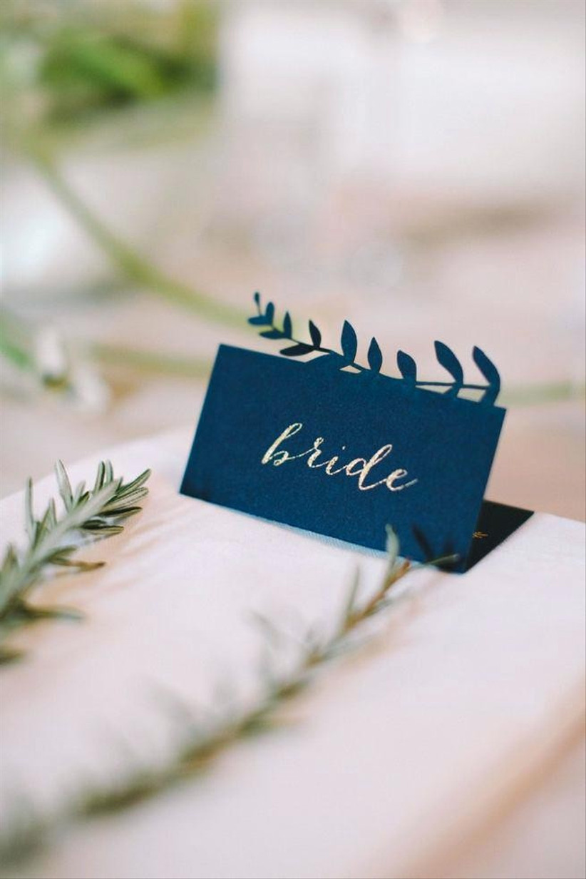 bride place card changing name