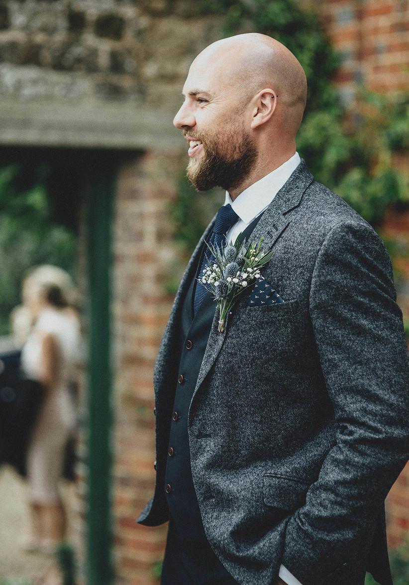 navy tweed groomswear