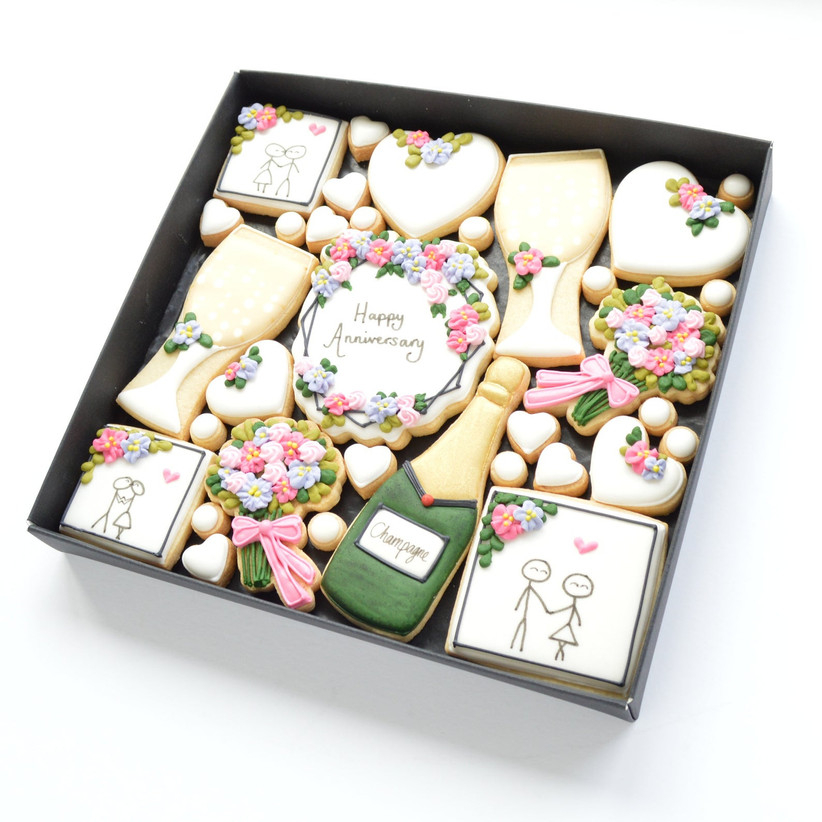 floral anniversary biscuits