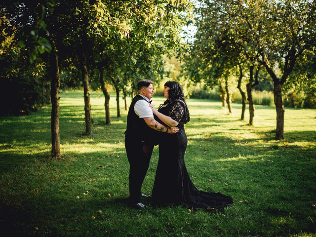 A Lesbian Wedding at Yarlington Barn with a Black Wedding Dress