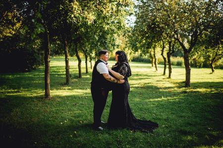 A Lesbian Wedding at Yarlington Barn with a Black Wedding Dress