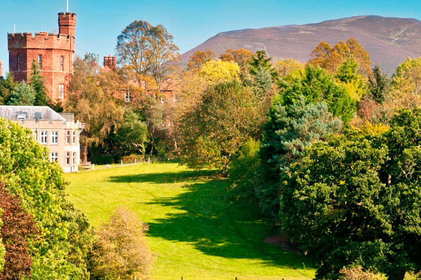 Exterior of Ruthin Castle Hotel on a sunny day