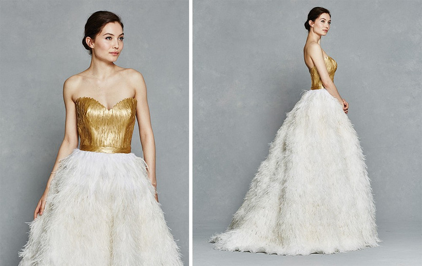 gold-bodice-feathered-dress