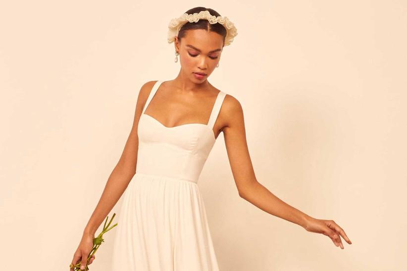 Model in a strappy wedding dress