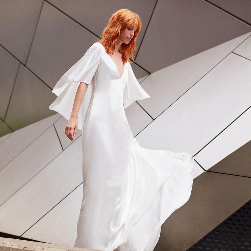 Vera Bridal Satin Cape Maxi Dress