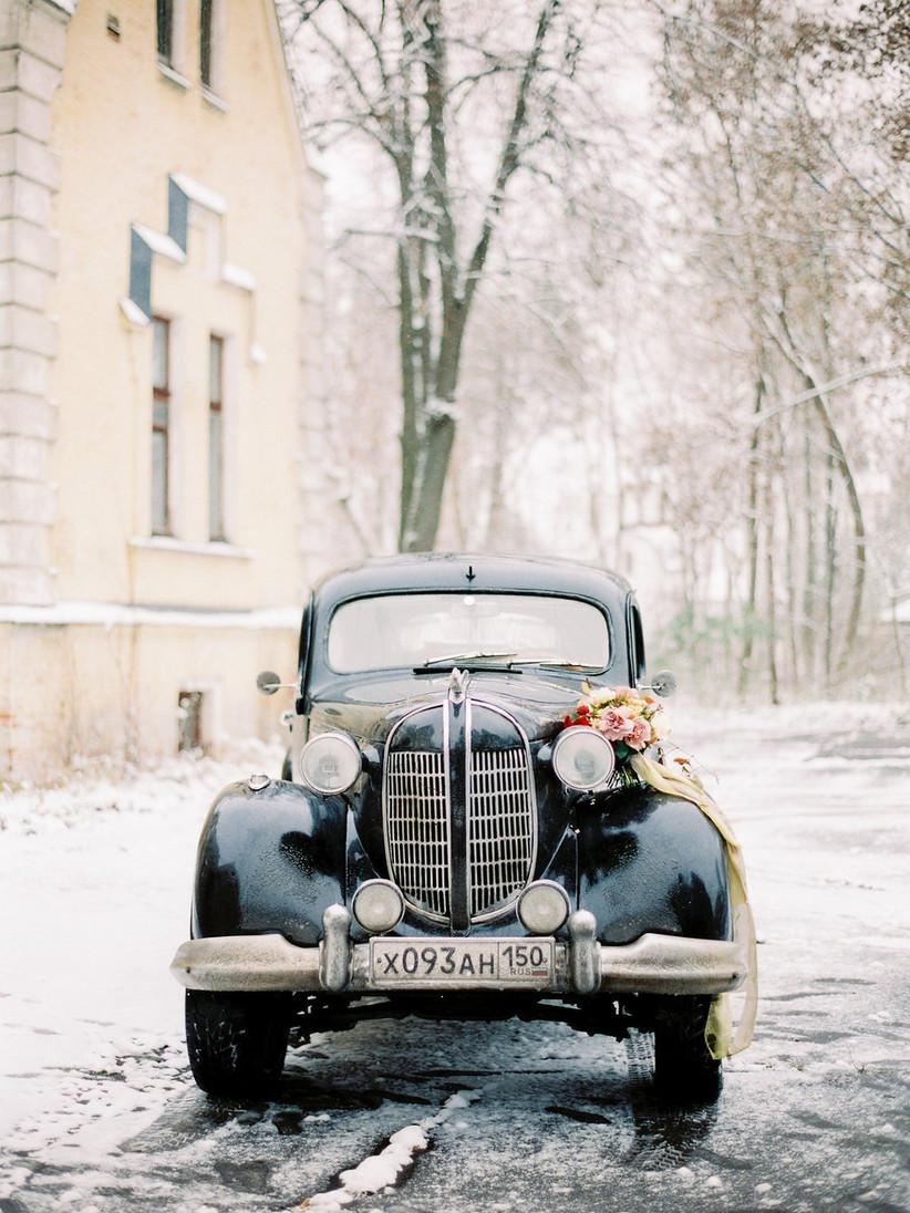 winter wedding car