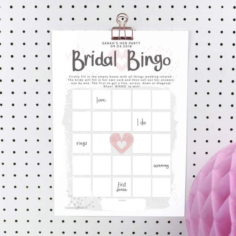 Bridal bingo card with a polka dot background