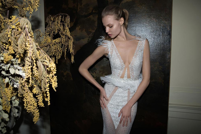 daring-wedding-dress-from-berta-bridal-with-feathered-shoulder-detail-and-belt