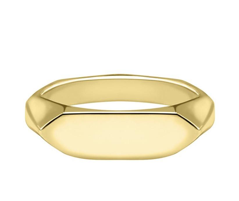 Angular gold men's signet ring