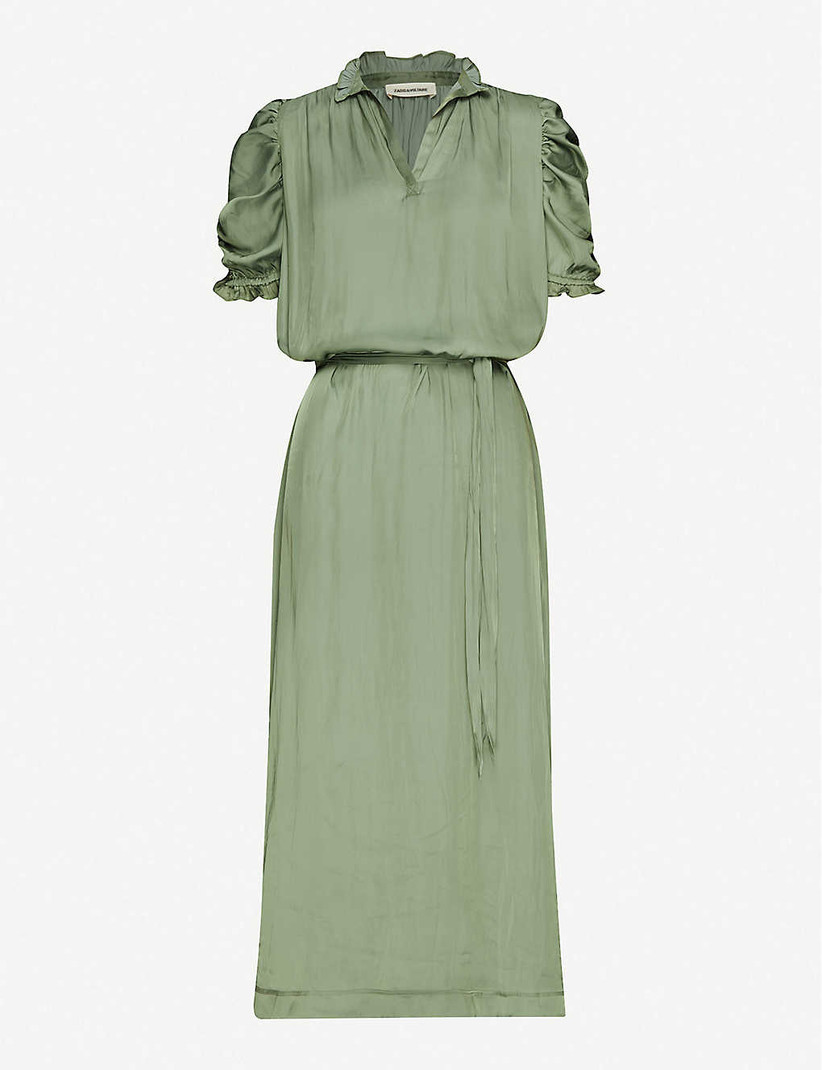 Green silky maxi dress with short ruched sleeves
