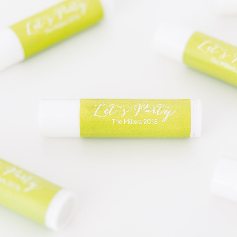 Yellow personalised lip balm wedding favour