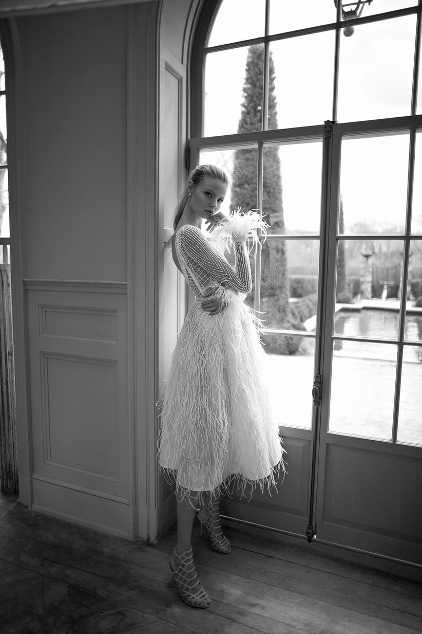 short-wedding-dress-with-feathered-cuffs