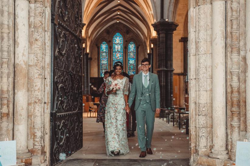 Nirosha and Dafydd leaving the church