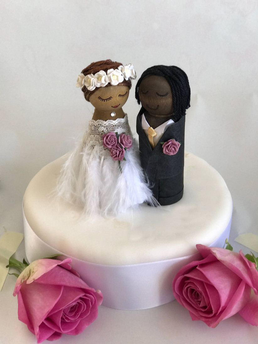 Bride and groom wood peg doll wedding cake topper