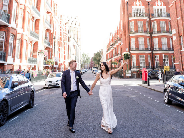 Real Covid Wedding: Eugenie and Chris, Old Marylebone Town Hall in London