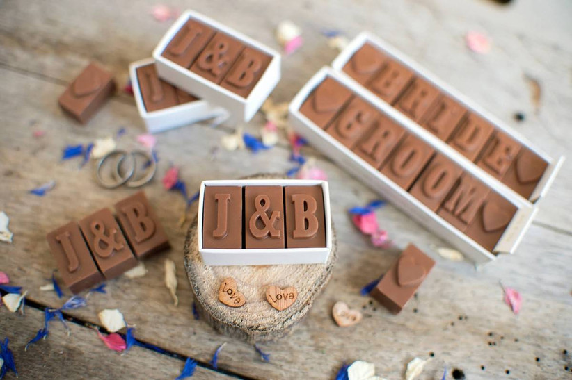 Initial chocolate wedding favours