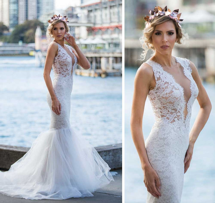 plunge-lace-dress-with-tulle-mermaid-skirt