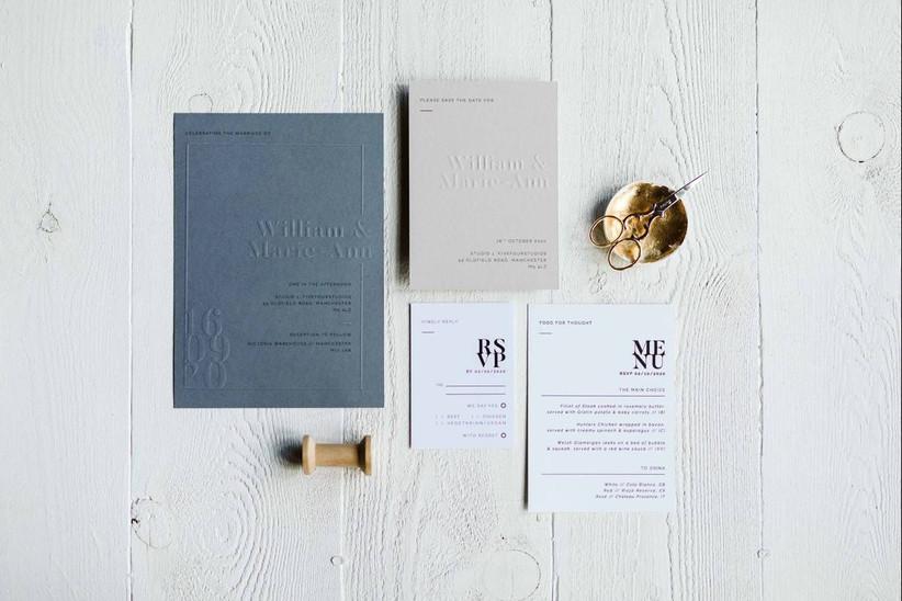 Grey wedding stationery