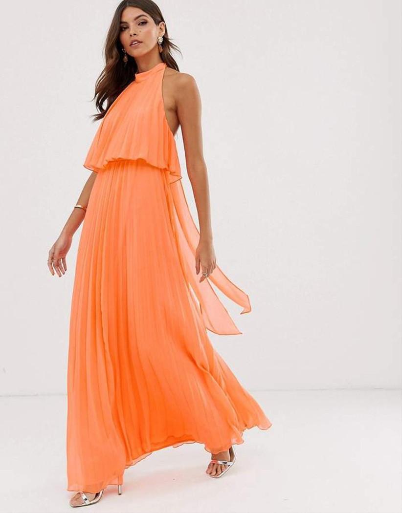 ASOS Orange Pleated Bridesmaid Dress