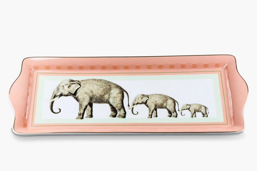 Elephant design fine china cake tray