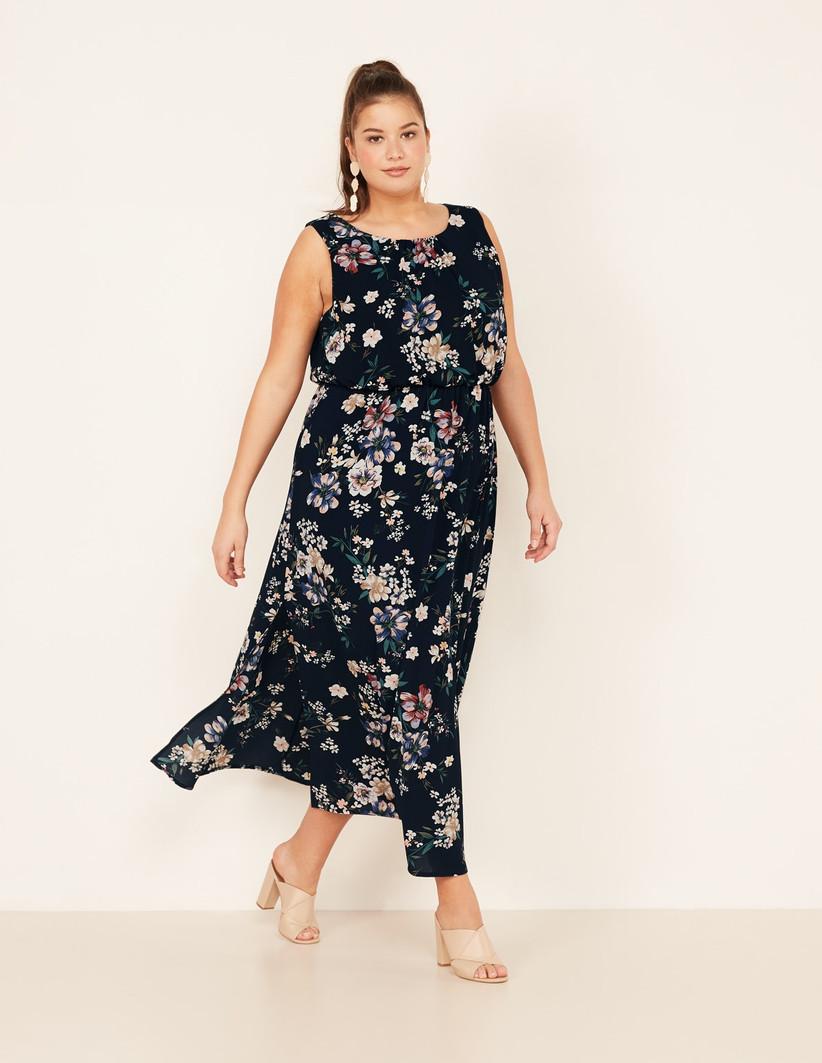 Black sleeveless floral maxi