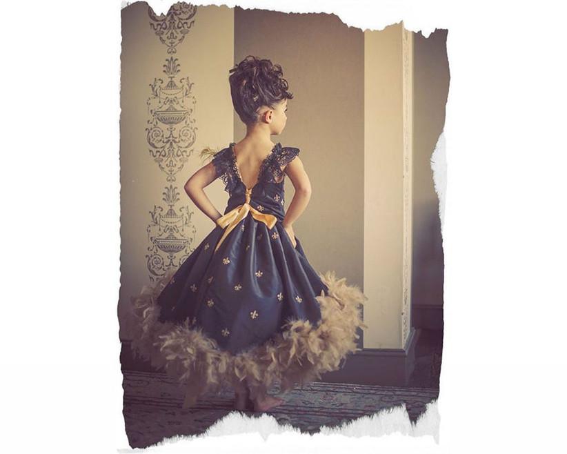 feathered-hem-flower-girl-dress