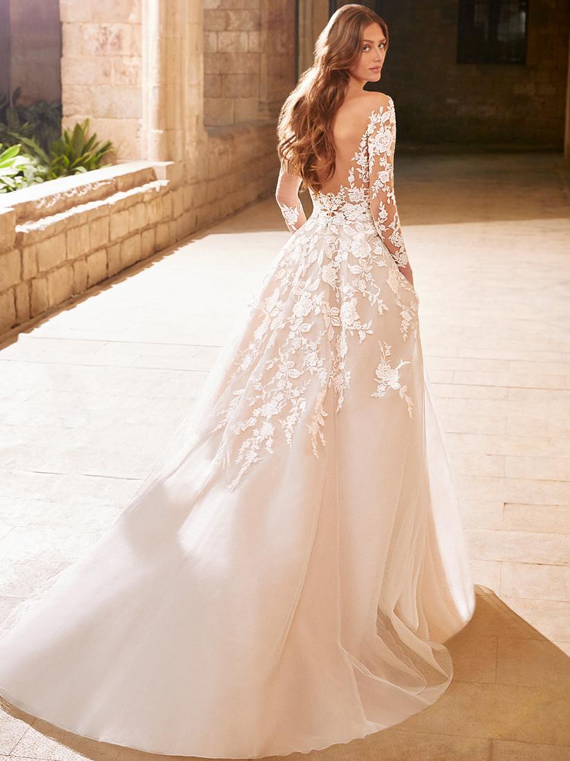 Etoile Arabelle long sleeve wedding dress from the back