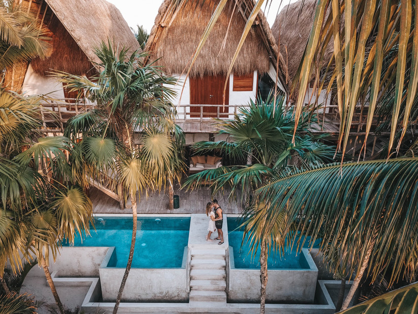 couple in tropical hotel