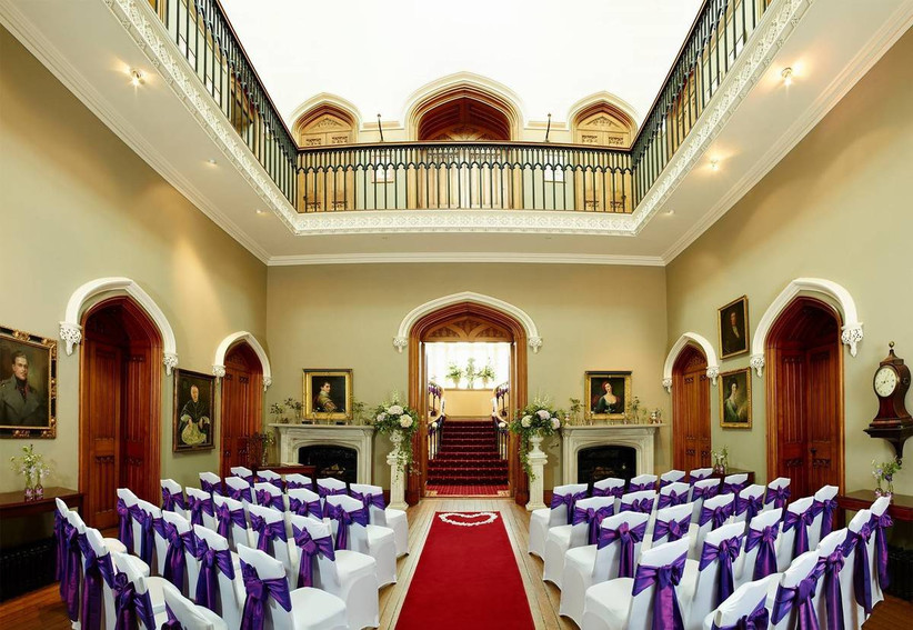 Grand staircase leading to a wedding ceremony room