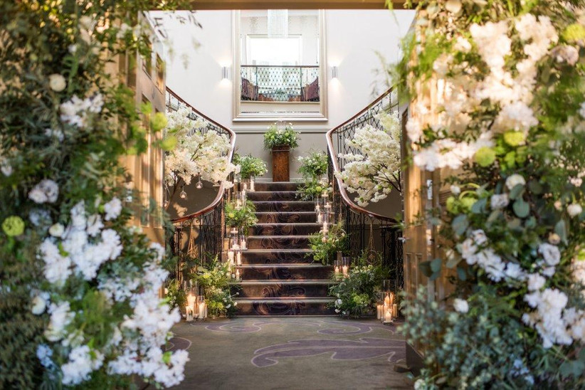 Floral decorated staircase