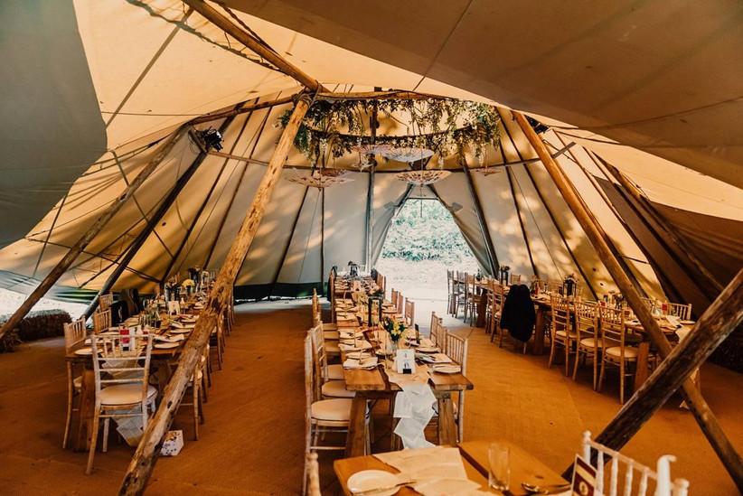 Wedding tipi dining area