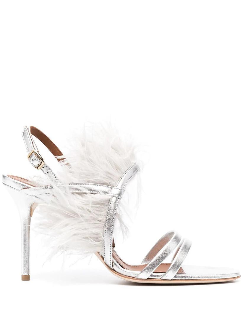 Feather silver designer wedding heel