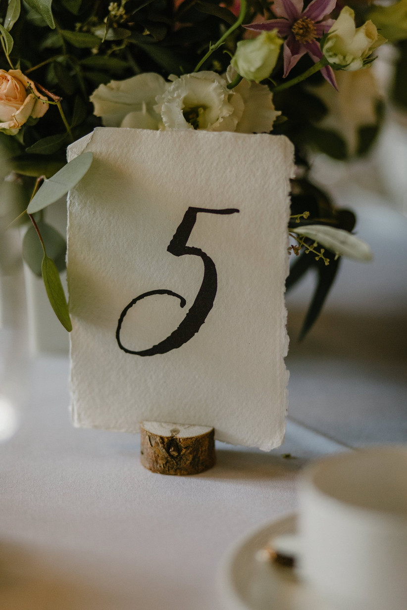 Cotton paper wedding table number