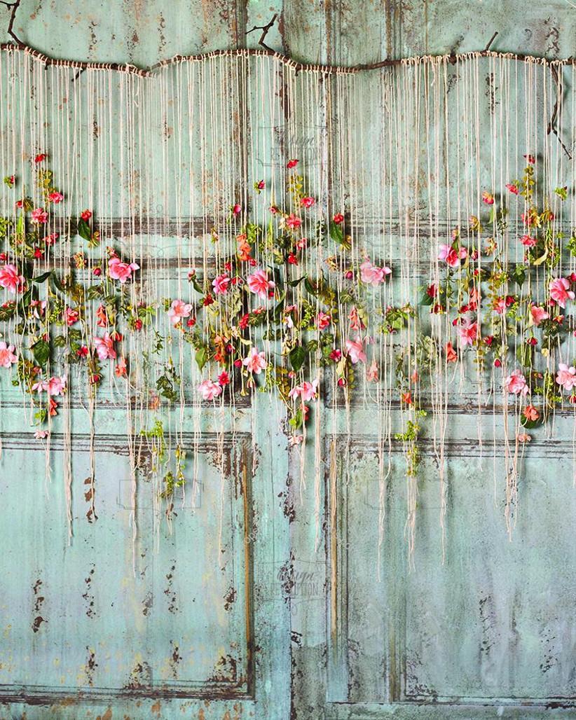 Flowers hanging from a door