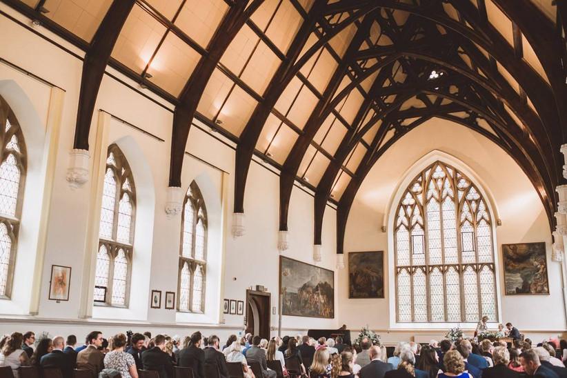 High ceiling wedding ceremony room