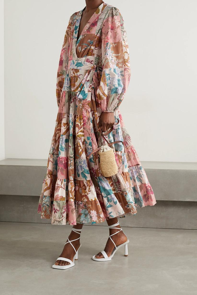 Model wearing a patchwork wedding guest dress