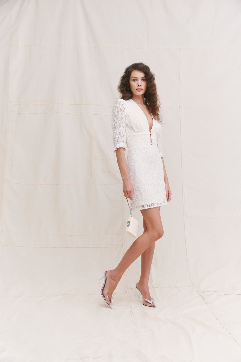 short lace wedding dress from reformation