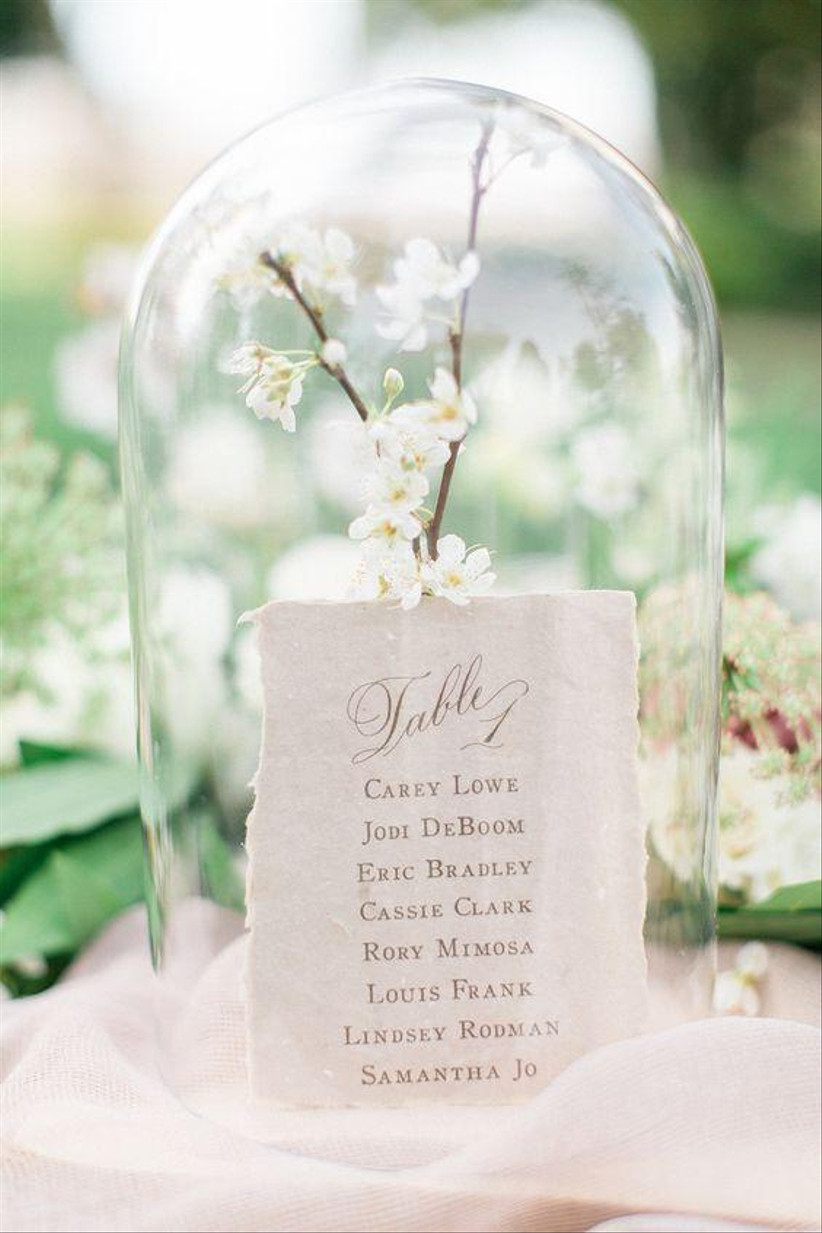 Glass dome wedding table number