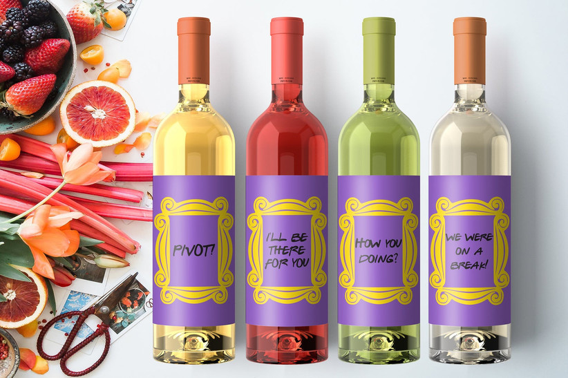Friends themed wine bottle labels