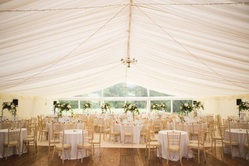 Wedding dining area in a marquee