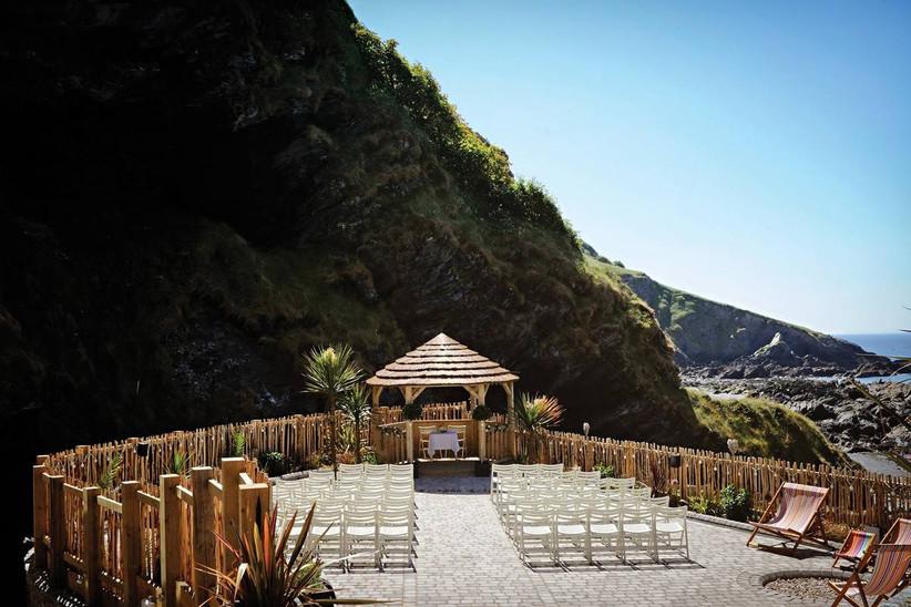 Wedding ceremony area on the coastal cliffs
