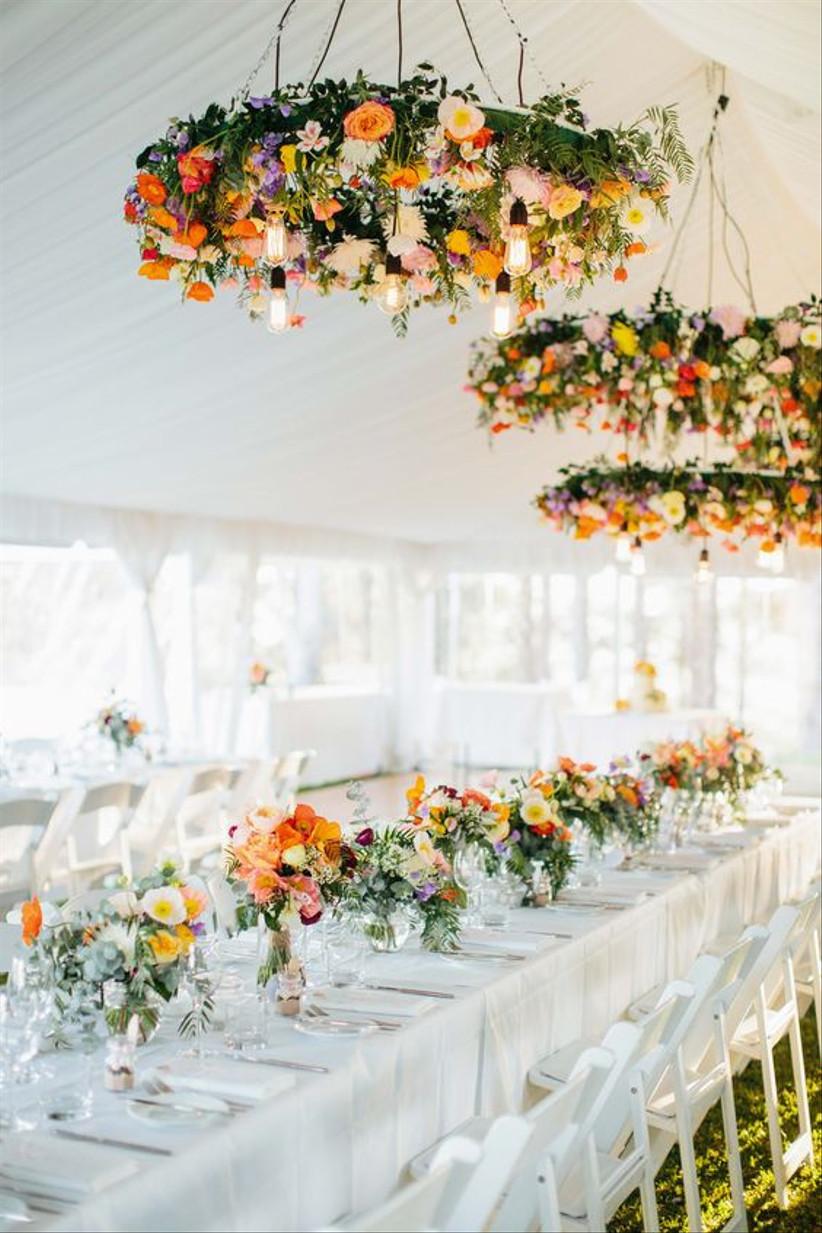Bright floral wedding chandeliers