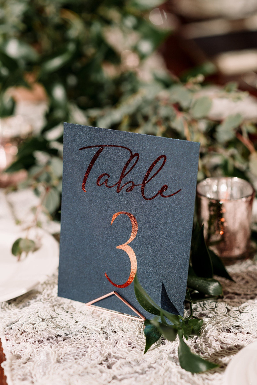 Copper foil and black paper wedding table number