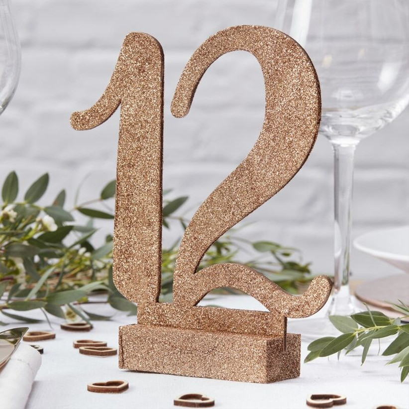 Glitter wedding table number