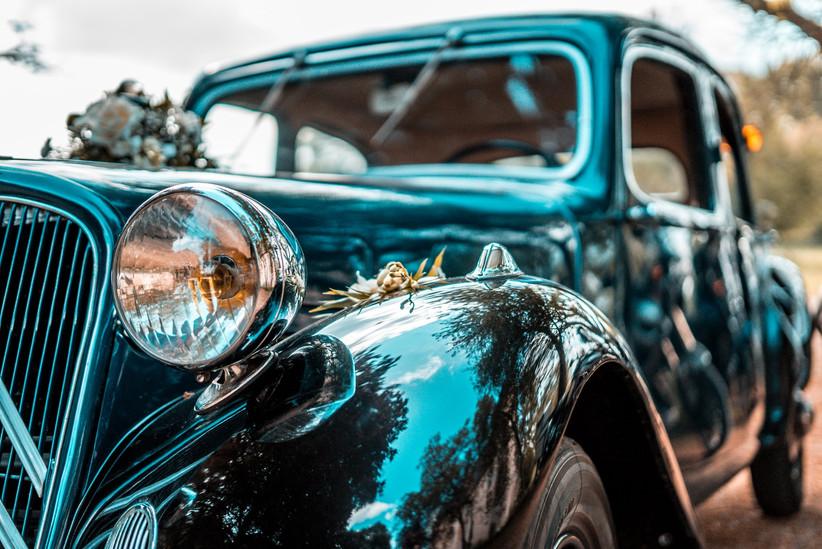 Close-up of black shiny car