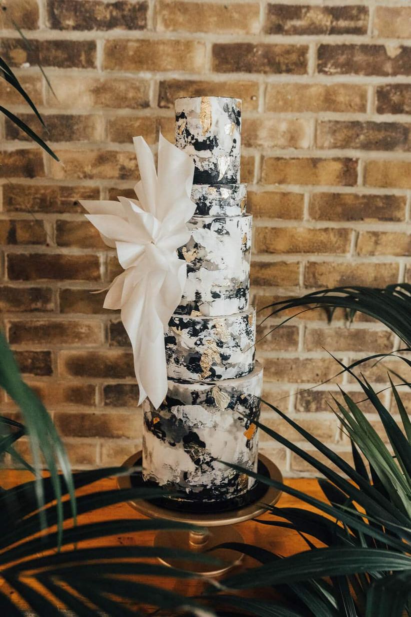 Painted trendy wedding cake